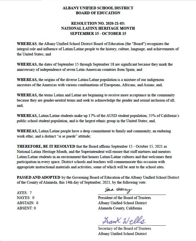 Resolution No. 2020-21-03: National Latinx Heritage Month September 15-October 15