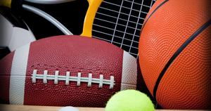 graphic containing various sports balls