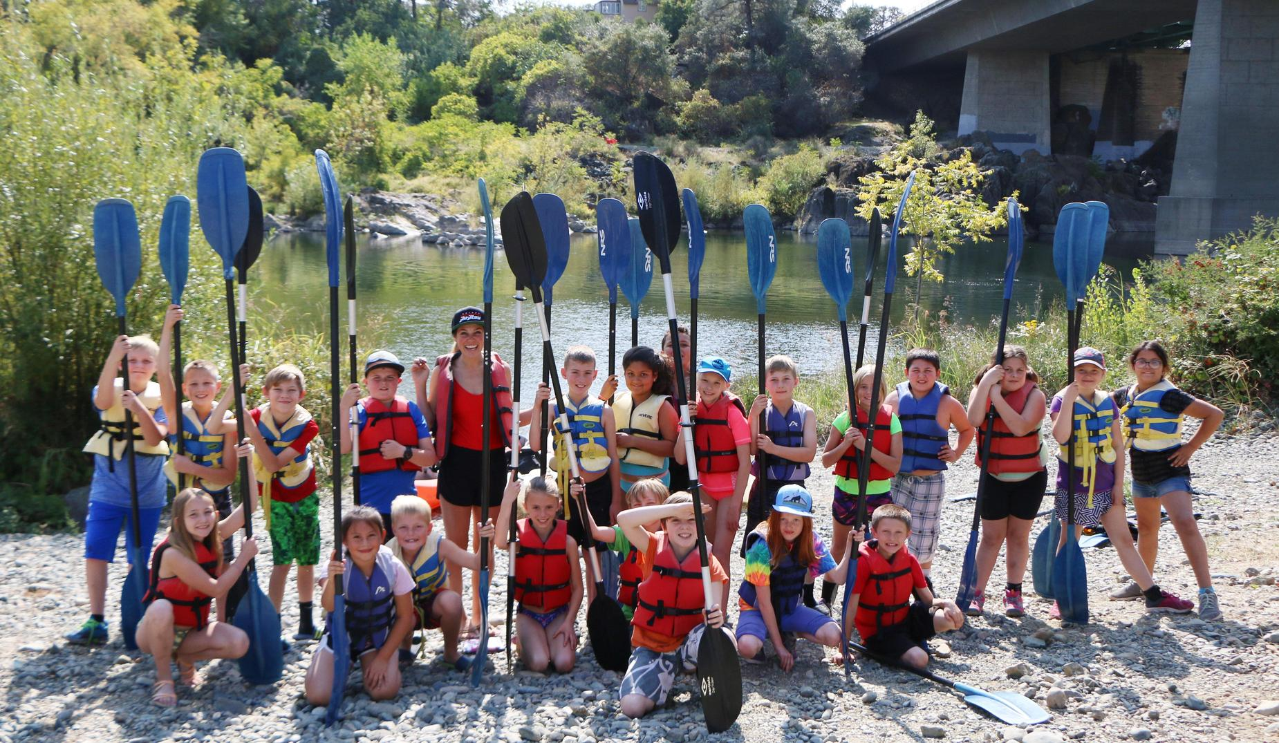 QES 4th graders kayaking in Oroville