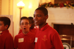 Community Prep seventh grader at RI Statehouse