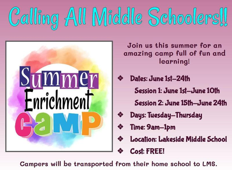 Middle School Summer Enrichment Camp Featured Photo