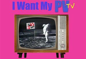 I Want my PV TV in blue text on hot pink background with old fashioned TV console pictured
