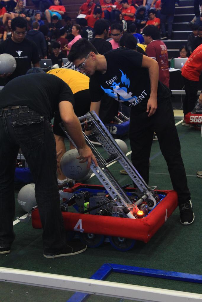 Mr. B, Nisan setting up robot