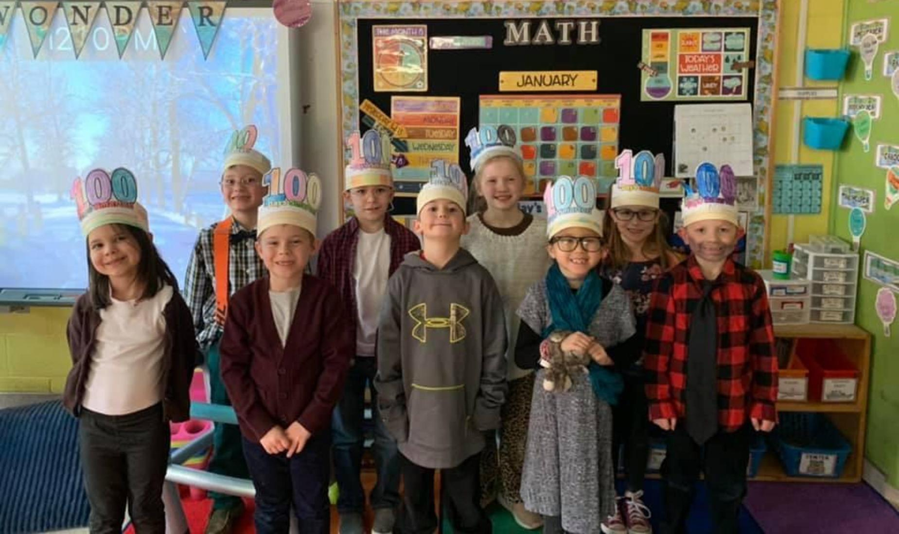 Students wearing 100th Day Hats