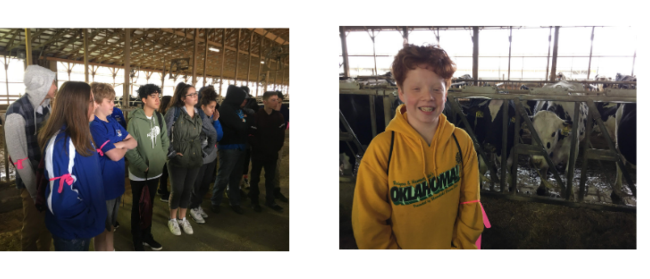 2 pictures of students at ag career day