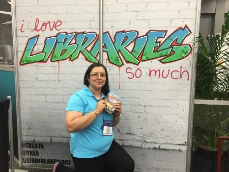 Librarian with wall writings