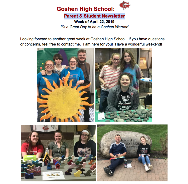 Goshen High School Parent & Student Newsletter!