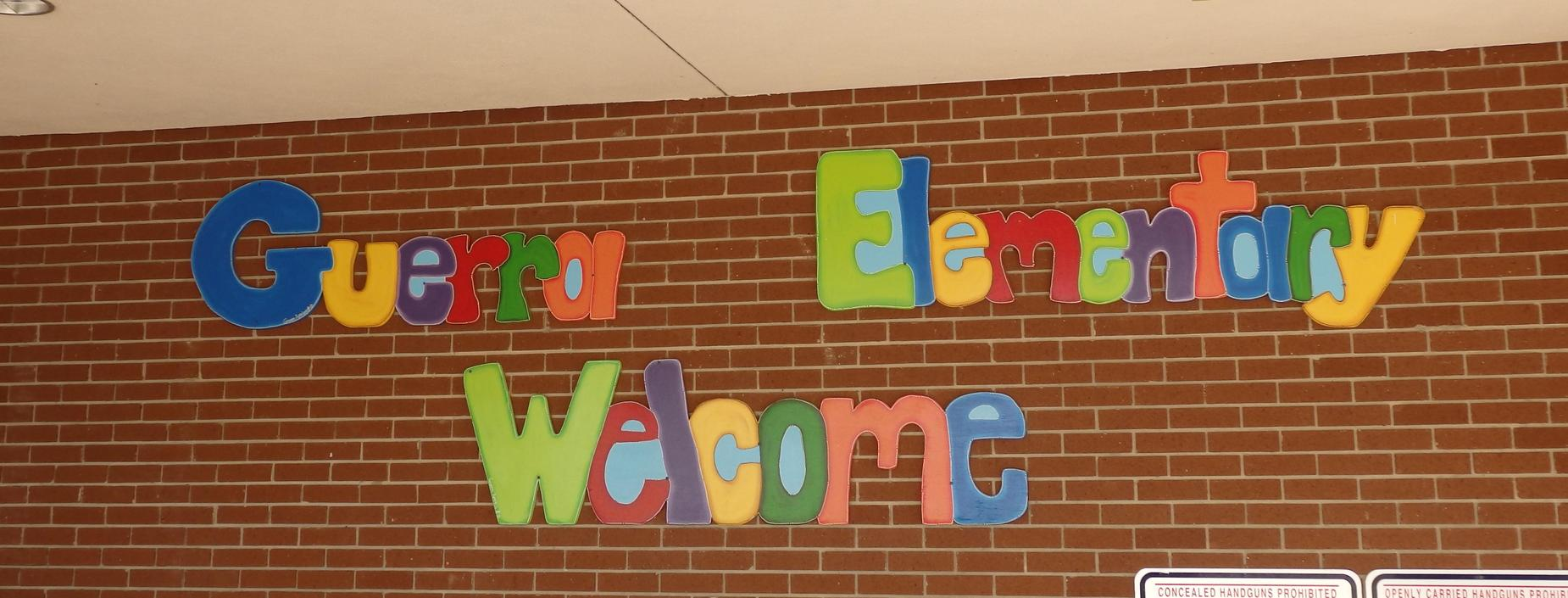 image of wall as you arrive to Guerra elementary entrance.