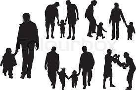 Multiple shadow figures in groups of parents with children