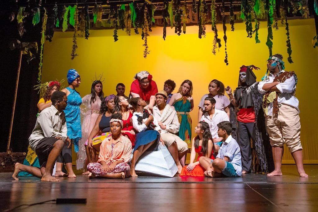 "The full cast of ""Once on this Island"" gathers at center stage as it performs the number entitled, 'We Dance'"