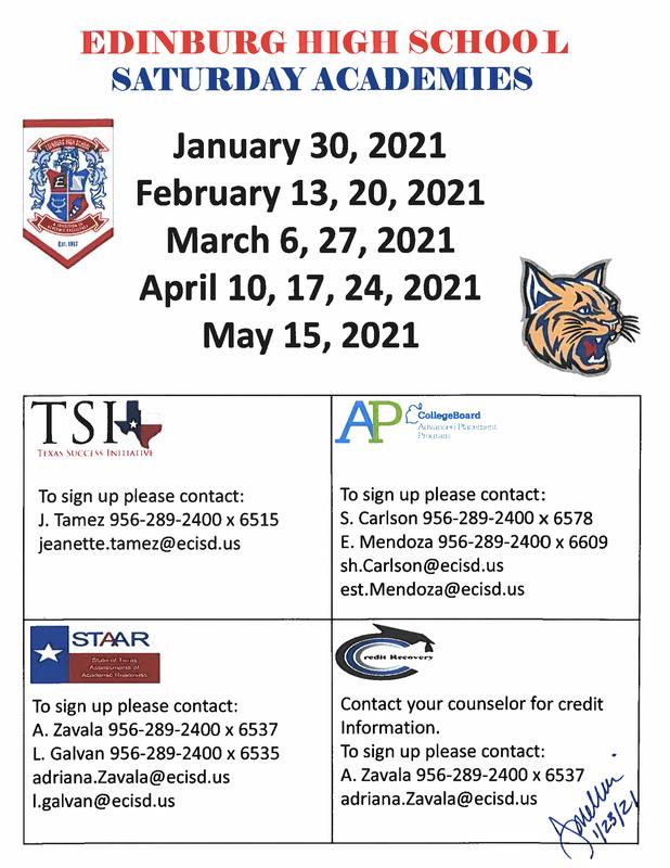 Spring 2021 Saturday Academies Flyer
