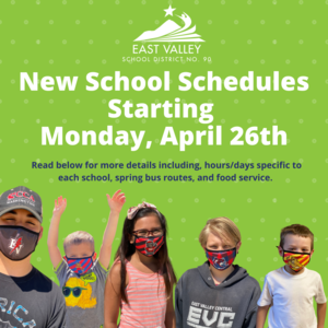 New School Hours Starting April 26, 2021