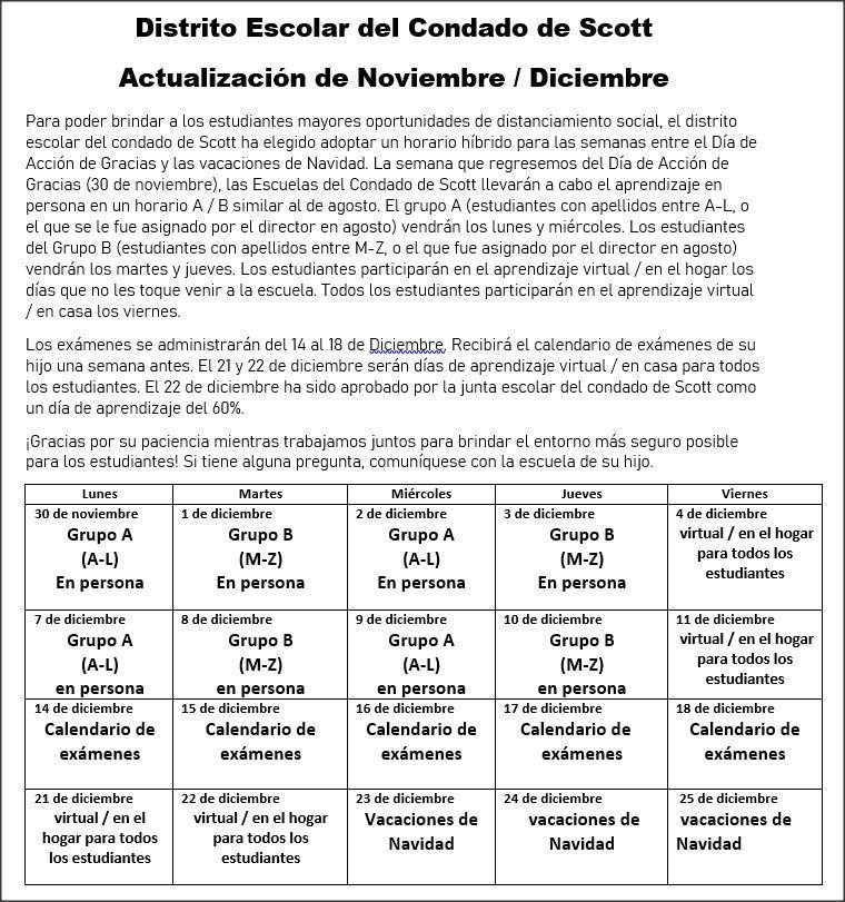 nov-dec schedule spanish