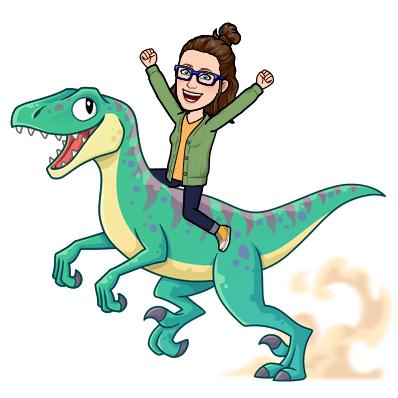 Image of cartoon Miss Alexa on a velociraptor