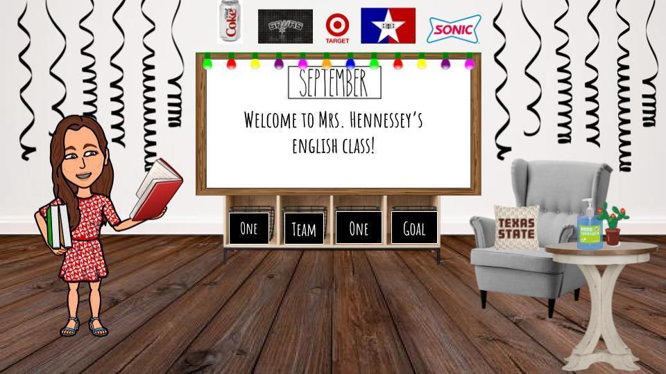 Bitmoji classroom design. White board reads 'Welcome to Mrs. Hennessey's English class.'