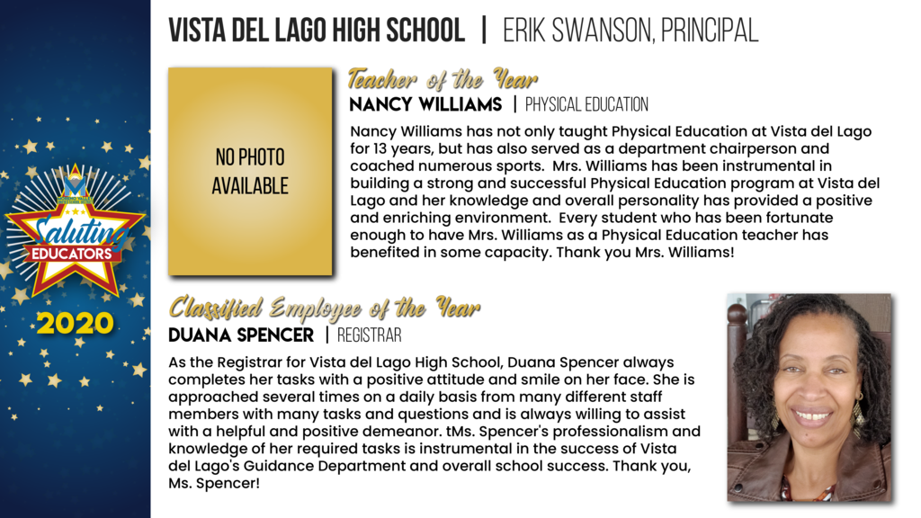 Vista Del Lago High School Employees of the Year