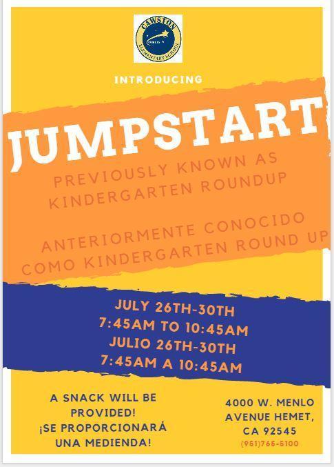 Jumpstart previously Kindergarten Round Up