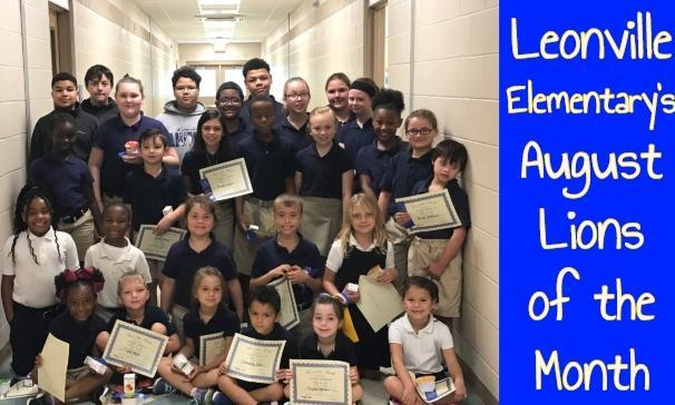 Leonville Elementary's August Lions of the Month