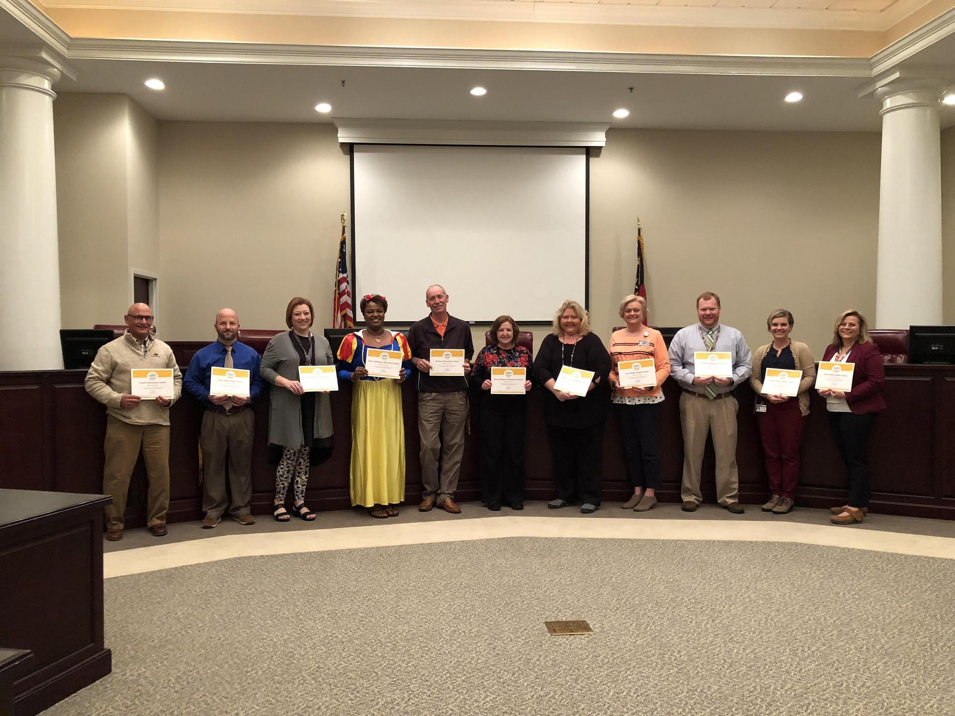 Principals from TES, NWHS, WWHS, NWES, MES, MPES, MCES, EWMS, CBEES, NWMS, and WWMS recognized for Meeting Expected Growth
