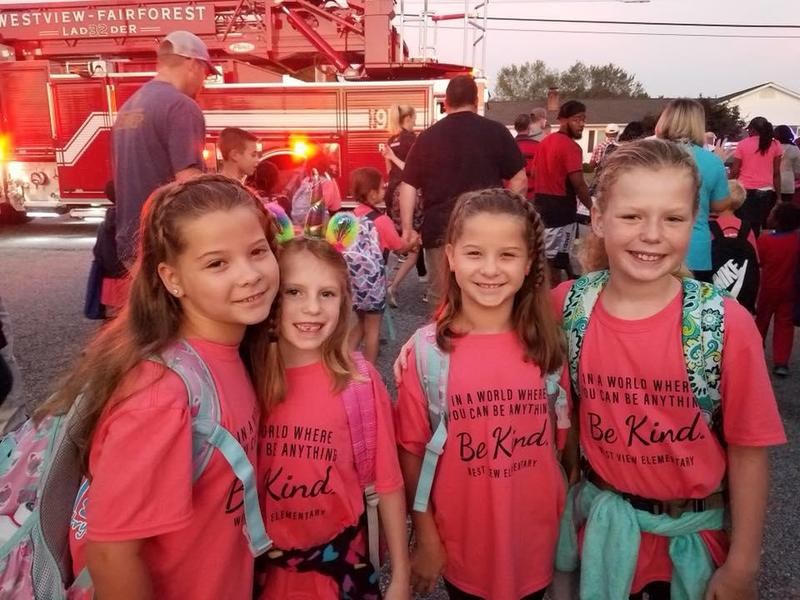 Four students from West View Elementary participated in Walk to School Day