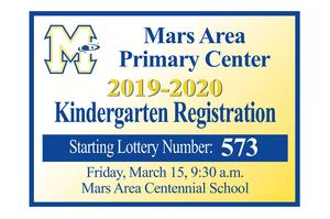 Mars Area Primary Center 2019-2020 Kindergarten Registration Starting Lottery Number 573.