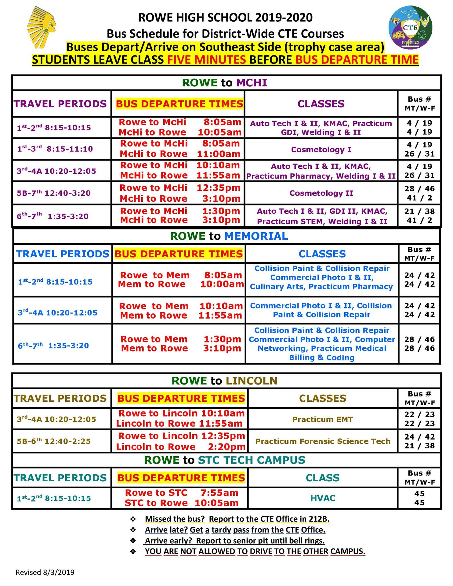 Rowe CTE District-wide Bus Schedule