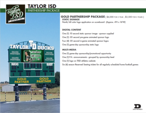 Scoreboard advertising opportunities