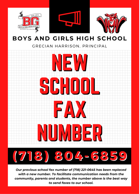 BGHS New School Fax Number - (718) 804 - 6859