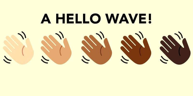 Clip art, a row of waving hands