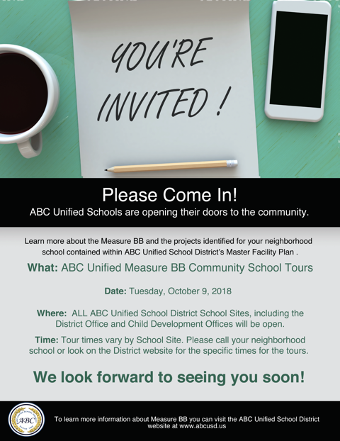 ABC Unified Measure BB Community School Tour Schedule Tuesday, October 9 Featured Photo