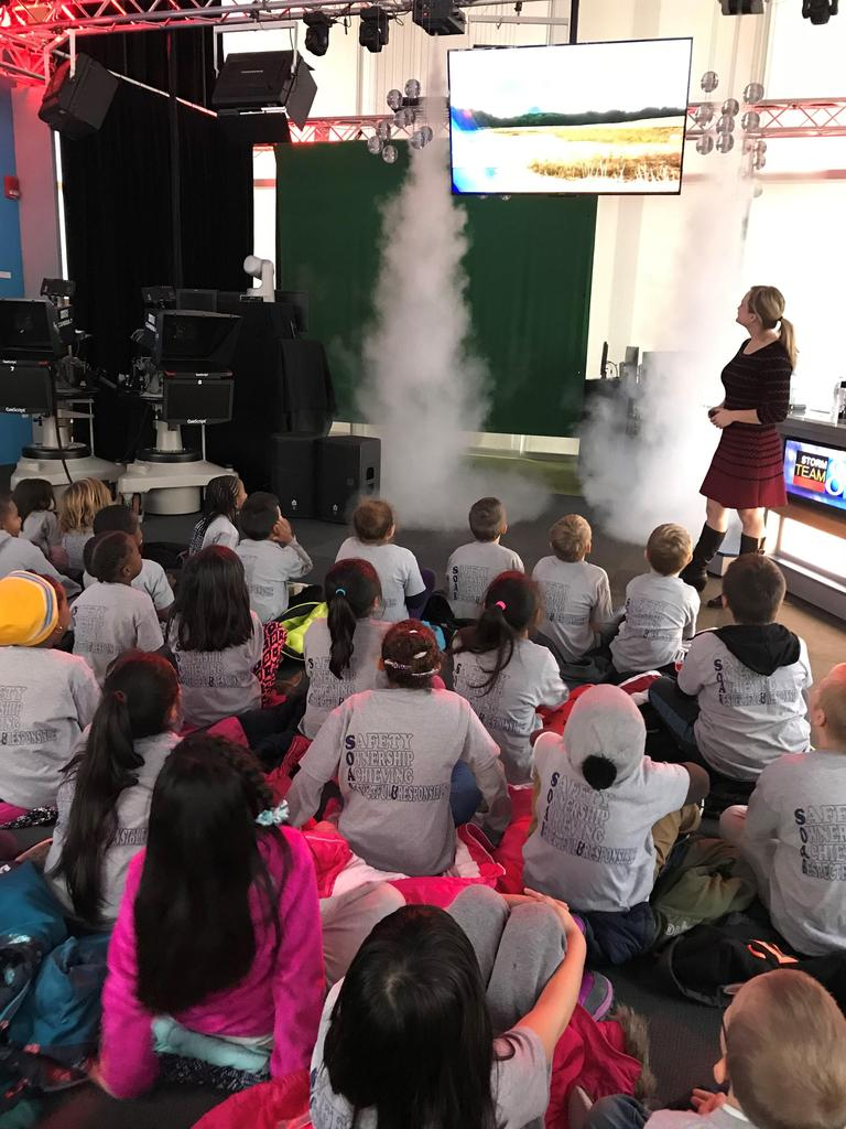 East student took a field trip to Wood TV 8's weather experience. The students learned how weather forms, is tracked, and how it is presented on the news.