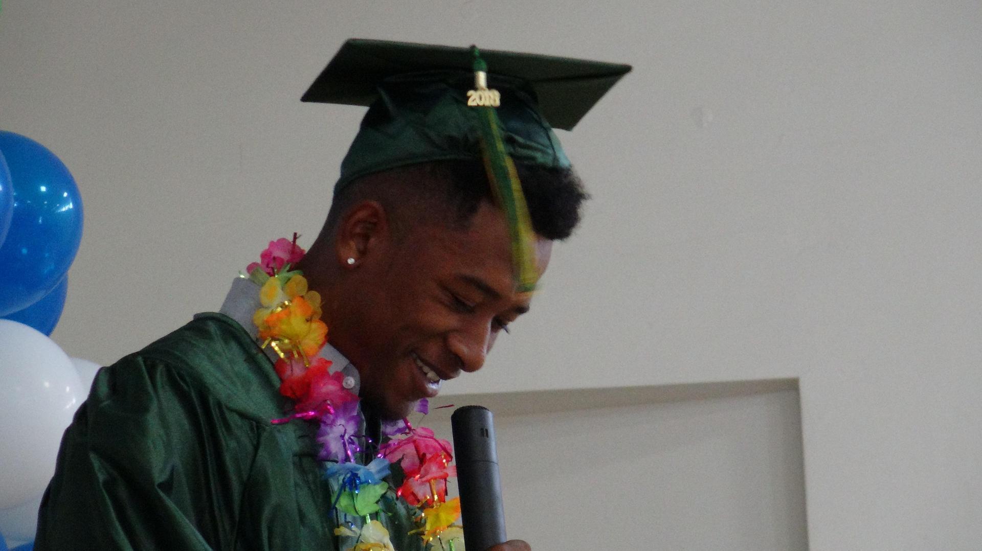 A San Diego grad giving a speech