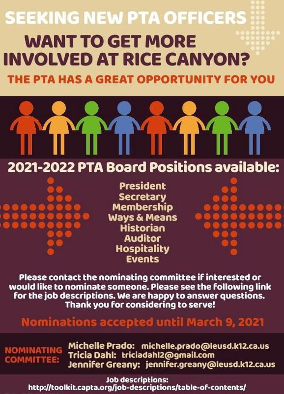 Nominations for PTA Executive Board