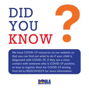 Did you know? We have COVID-19 resources on our website so that you can find out what to do if your child is diagnosed with COVID-19, if they are a close contact with someone who is COVID-19 positive, or how to register them for COVID-19 testing. Visit bit.ly/RSDCOVID19 for more information.