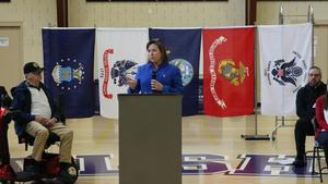 photo of Representative Valerie Gaydos addressing the audience at OLSH