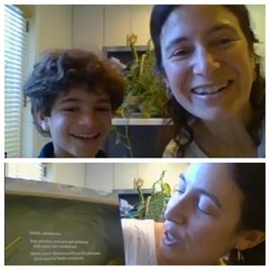 2 picture collage of mom reader