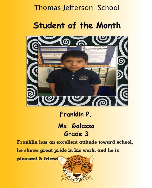 Franklin P Grade 3 student of the month