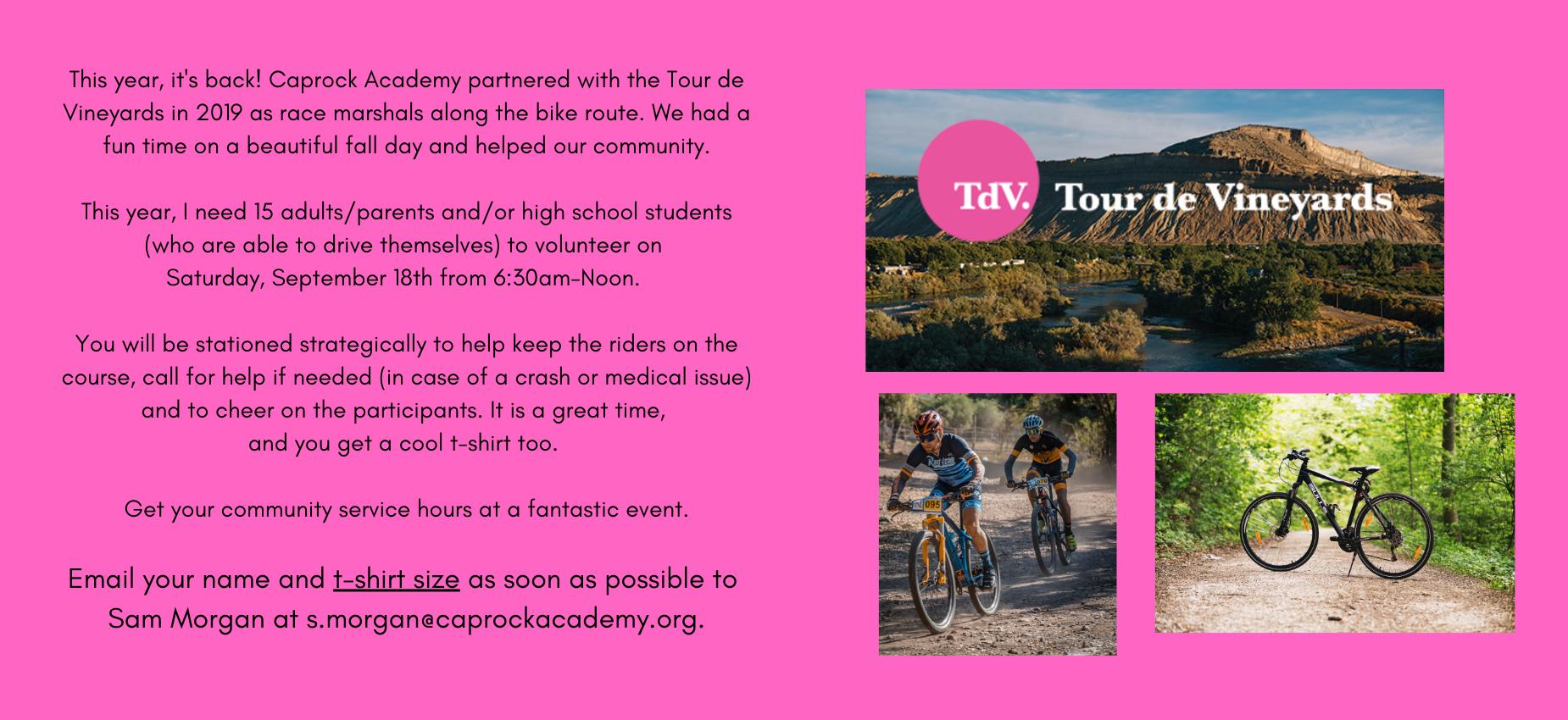 Volunteers Needed for Tour de Vineyards