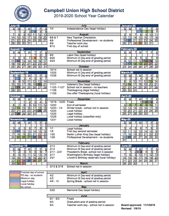 Spring 2020 Academic Calendar.District Calendar Miscellaneous Campbell Union High School District