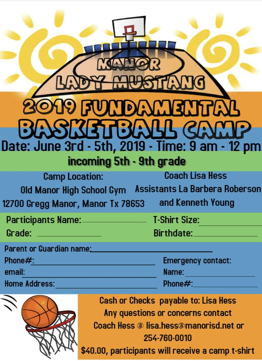 Colorful text of basketball camp this summer at manor high school
