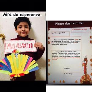 Student holding Turkey Abanico and writing