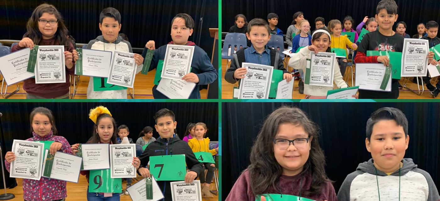 four pictures with students posing with certificates and ribbons