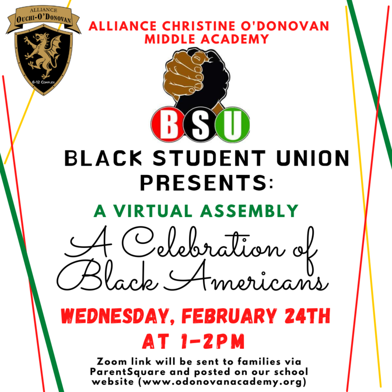 Recording of our O'Donovan BSU Assembly: A Celebration of Black Americans Thumbnail Image