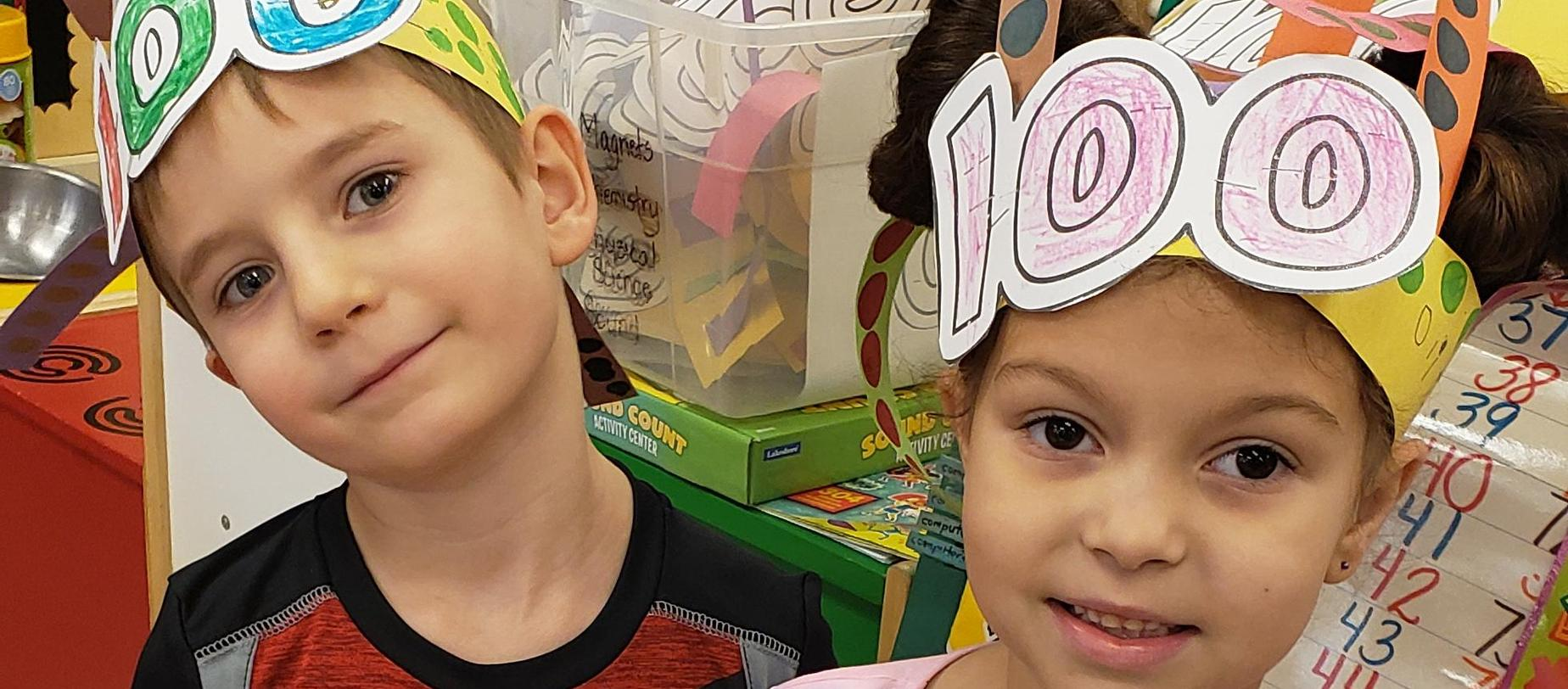 students celebrating the 100th day of school