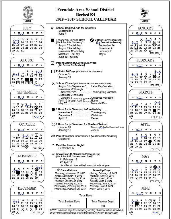 2018 - 2019 K4 Revised School Calendar