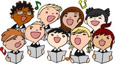 faces of children singing