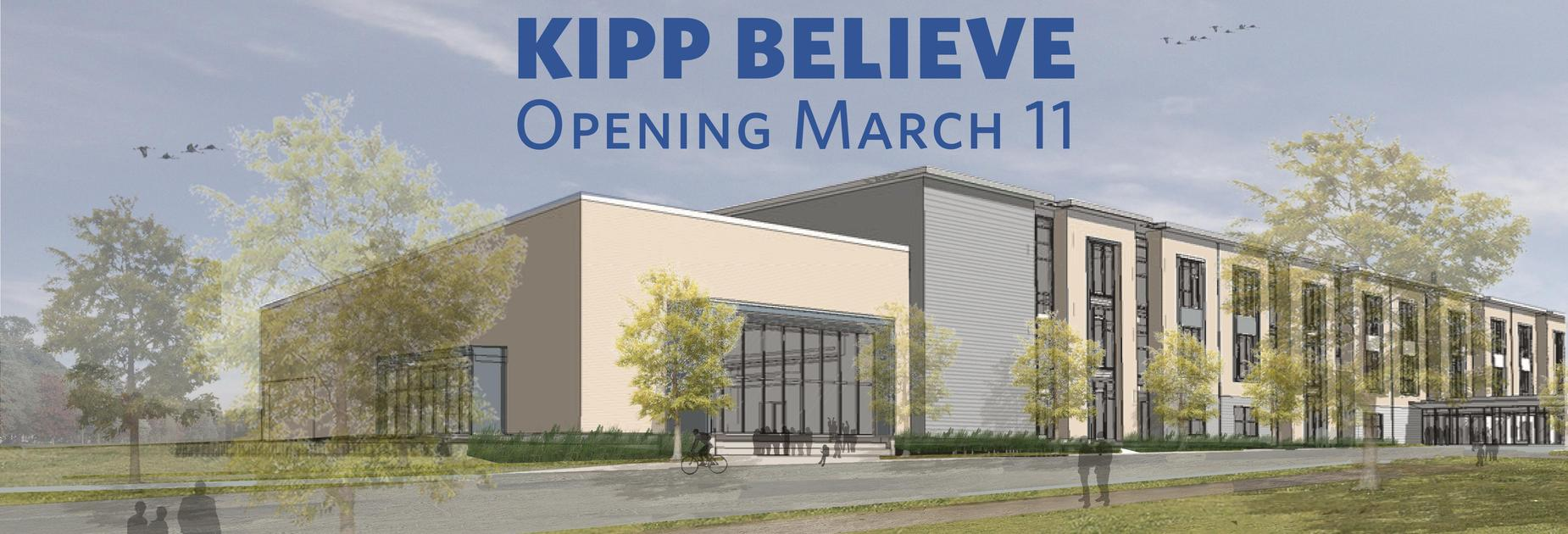 Rendering of new KIPP Believe building opening March 11
