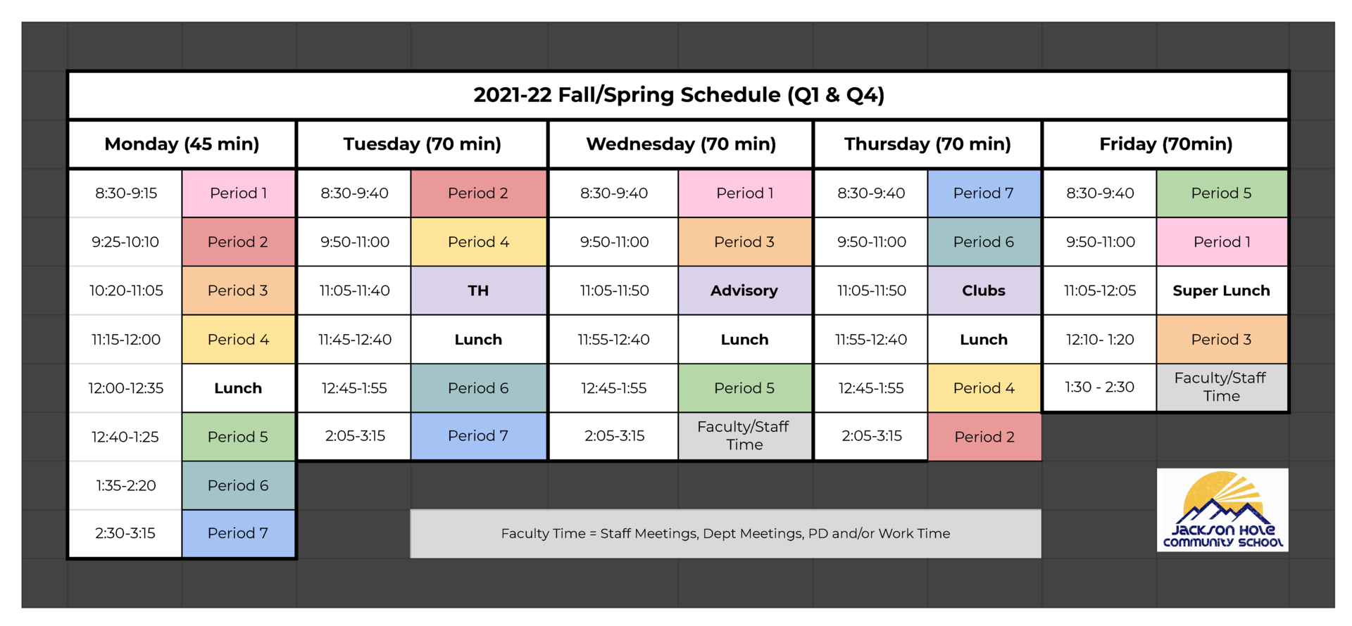 JHCS 2122 Daily Schedule Q1 and Q4