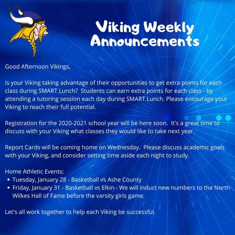 Weekly Announcements 1/27 - 1/31 - Please Click for Further Details Thumbnail Image