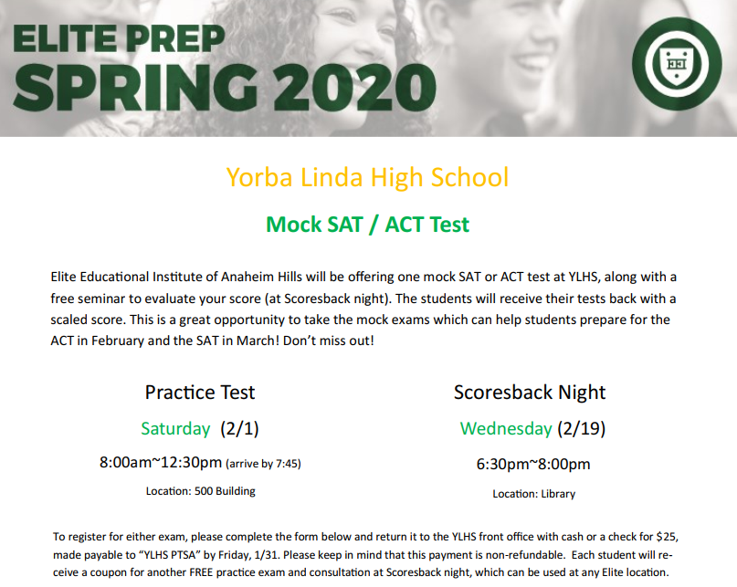 YLHS Mock SAT Registration Feb. 2020